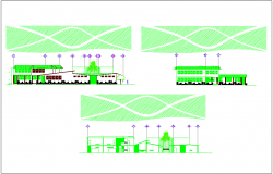Sectional view of office building dwg file