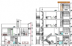 Sectional view of single family house design dwg file