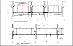Sectional view with ceiling and construction view for corporate building dwg file
