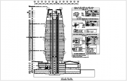 Sectional view with high density electric light view of building dwg file
