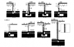 Sections-footing-metallic structure-roof dwg file