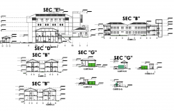 Sections of a general hospital plan detail dwg file.
