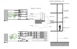 Sections of building multifamily plan detail dwg file.