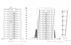 Sections of high rise building plan detail dwg file,