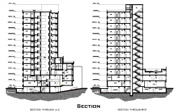 Sections of hotel elevation plan detail dwg file.