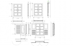 Sections of window plan detail dwg file.