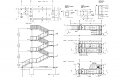 Security steel stairway plan detail dwg.,