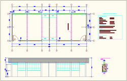 Sedimentation improvement construction view with plan,elevation and detail view dwg file