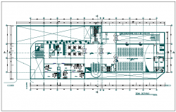 Semi basement plan of government building dwg file
