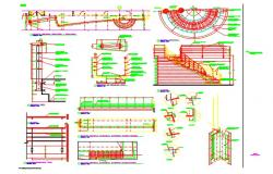 Semi-circular Staircase section and handrailing elevation detail dwg file,