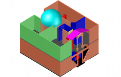 Semi sphere view in center of 3d house dwg file
