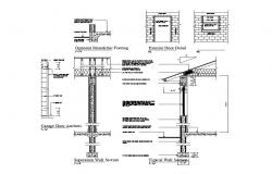 Separation and typical wall section details with footings dwg file