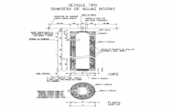 Septic tank detail elevation 2d layout autocad file