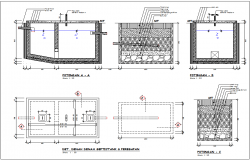 Septic tank sectional view different view with construction plan for office dwg file