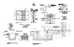 Septic water tank section, construction and plumbing details dwg file