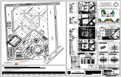Set plan design view of university with detail view dwg file