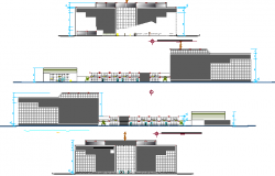Seven floors regional government office elevation and section view dwg file