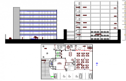 Seven story office building elevation, section and plan details dwg file