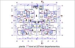 Seven to twenty two floor view with department view with office and residence area view dwg file