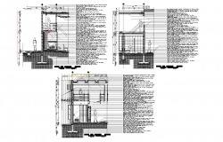 Several sections of poly-carbonate and aluminium case plan detail dwg file.