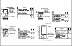 Several types of electric benches section view with its foundation dwg file