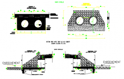 Sewer of water tank details with dart construction details dwg file