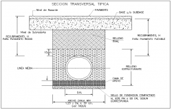 Sewerage line of wastewater section view detail dwg file