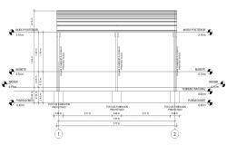 Shade structure detail 2d view CAD block layout file in dwg format