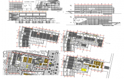 Shopping Center section and layout plan dwg file