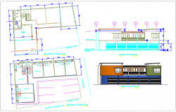 Shopping area building plan view with elevation dwg file