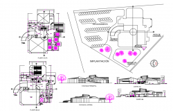 Shopping center Elevation and section plan dwg file