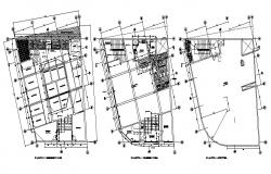 Shopping center floors distribution plan and sanitary details dwg file
