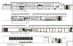 Shopping center with stores department elevation and sectional details dwg file