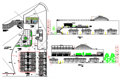 Shopping mall elevation, section and layout plan details dwg file