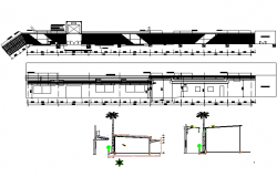 Shopping mall elevation and section detail dwg file
