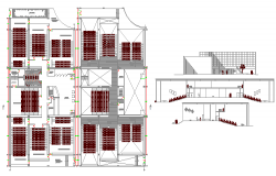 Shopping mall sectional details with floor plan view dwg file