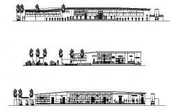 Shopping mall with spa center elevation and section cad drawing details dwg file