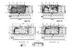 Showroom floor plan and architecture layout plan details dwg file