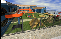 Side 3d view of children play school building.