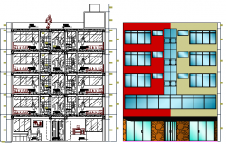 Side Elevation and Section Details of Hotel Restaurant With Garden dwg file