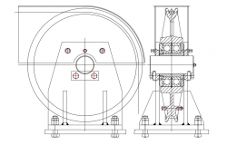 Side and section view of pulley with mechanical view dwg file