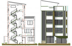 Side elevation and sectional view of four level housing building dwg file