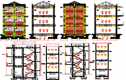 Side elevation and sectional view of multi-flooring college dwg file