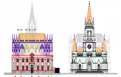 Side elevation details of regional church dwg file