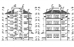 Side elevation of a apartment dwg file