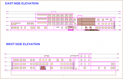 Side elevation of hospital dwg file