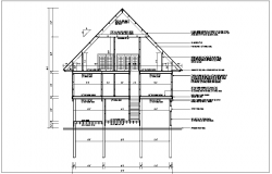 Side elevation section view of bungalow detail dwg file