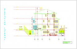 Side elevation view for house building dwg file
