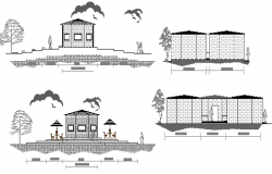 Side elevation view of single family house project dwg file