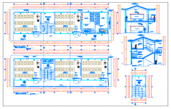 Side sectional and layout plan details of multi-flooring school dwg file